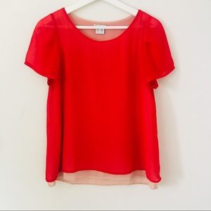 KLING Bright Red Chiffon Blouse Sz S